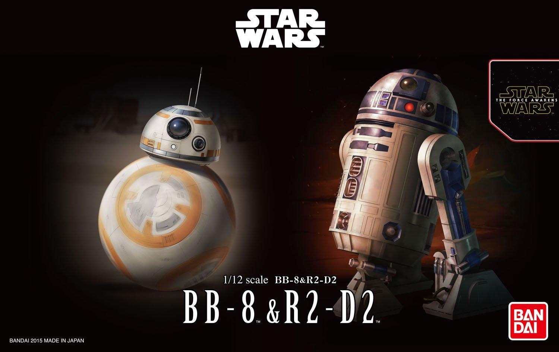Bandai Star Wars BB-8 /& R2-D2 1//12 scale Plastic Model Kit 1:12 4549660032205